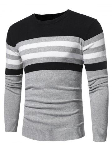 Color Block Stripe Panel Knitted Sweater