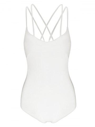 Chic Criss Cross Strappy Jersey Bodysuit