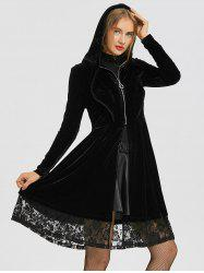 Ruffle Neck Lace Iansert Long Hooded Velvet Coat -