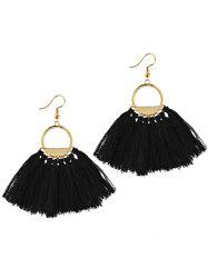 Vintage Fan Tassel Embellished Hollow Out Tassel Drop Earrings -