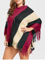 Asymmetric Striped Plus Size Fringe Cape Sweater -