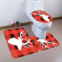 3Pcs Grid And Elk Pattern Toilet Bath Mat Set -