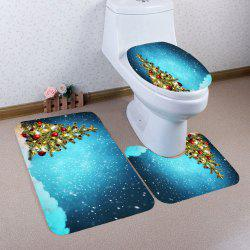 3Pcs Snowy Christmas Tree Patterned Toilet Bath Mat Set -
