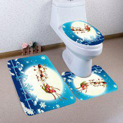 Moon Santa Elk Sled Patterned 3Pcs Toilet Mat Set -