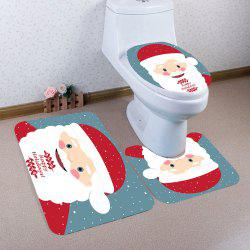 3Pcs Santa Claus Polka Dot Printed Toilet Mat Set -