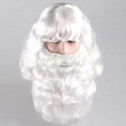 Long Side Bang Fluffy Curly Santa Claus Cosplay Wig With Beard -