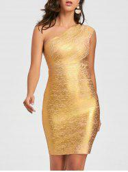 One Shoulder Metallic Bandage Dress -