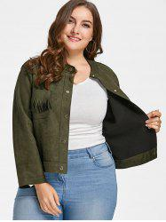 Fringe Suede Plus Size Jacket -