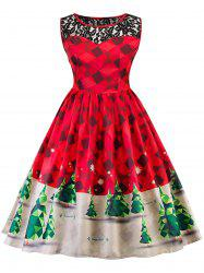 Vintage Christmas Lace Insert Pin Up Skater Dress -