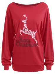 Plus Size Merry Christmas Deer Graphic T-shirt -