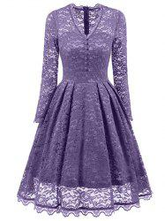 Vintage Lace Long Sleeves Dress -