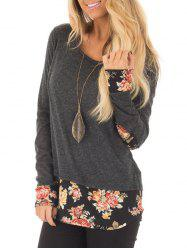 Floral Hem and Elbow Patch Long Sleeve Top -