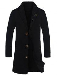 Notch Lapel Rose Embellished Wool Blend Coat -