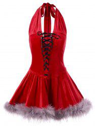 Christmas Vintage Halter Lace Up Dress -