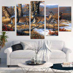 Vintage Deer Unframed Split Canvas Paintings -