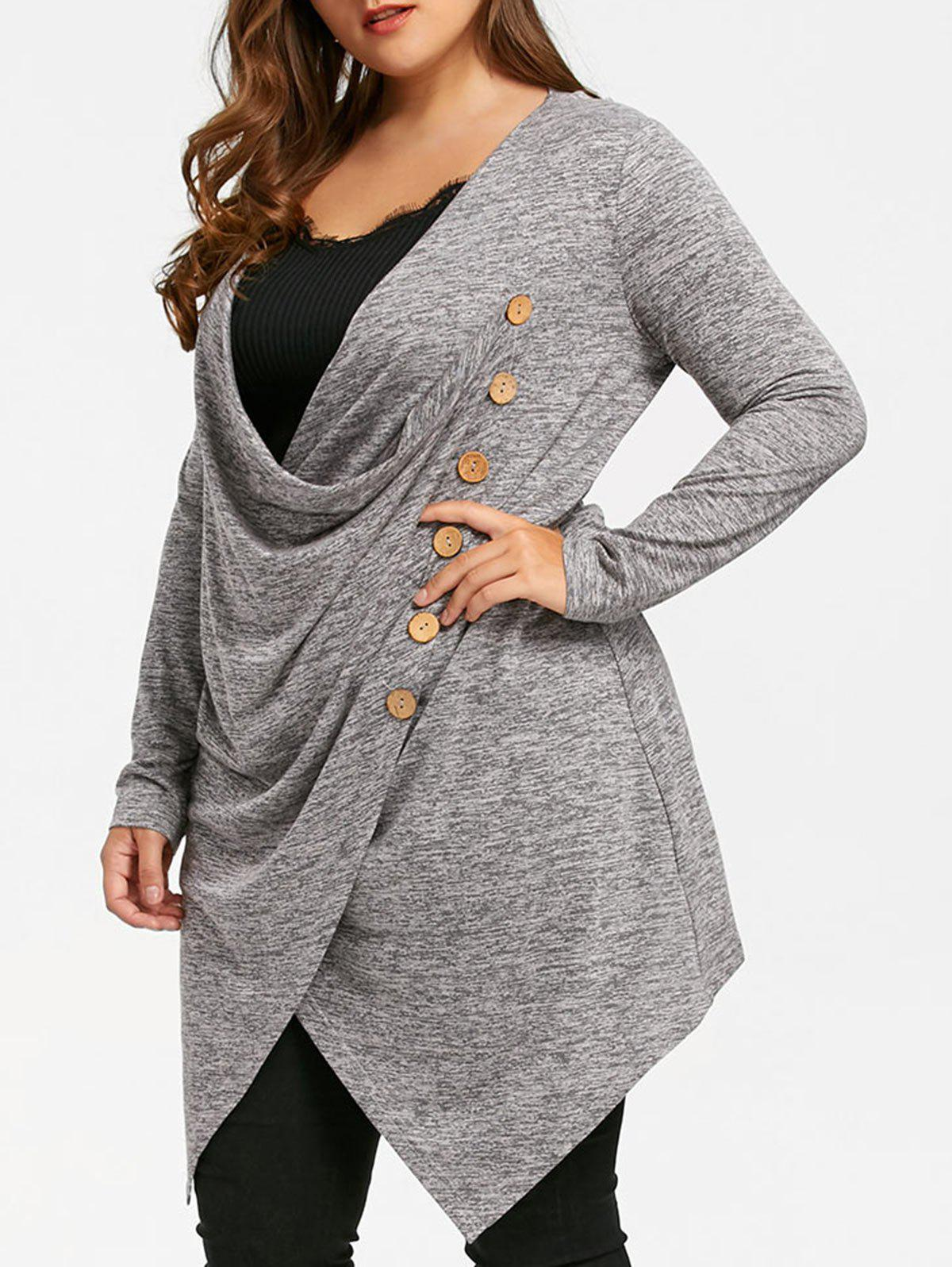 Plus Size Crossover Marled Longline TopWOMEN<br><br>Size: XL; Color: GRAY; Material: Rayon; Shirt Length: Long; Sleeve Length: Full; Collar: Cowl Neck; Style: Casual; Season: Fall,Spring; Embellishment: Button; Pattern Type: Solid; Weight: 0.3800kg; Package Contents: 1 x Top;