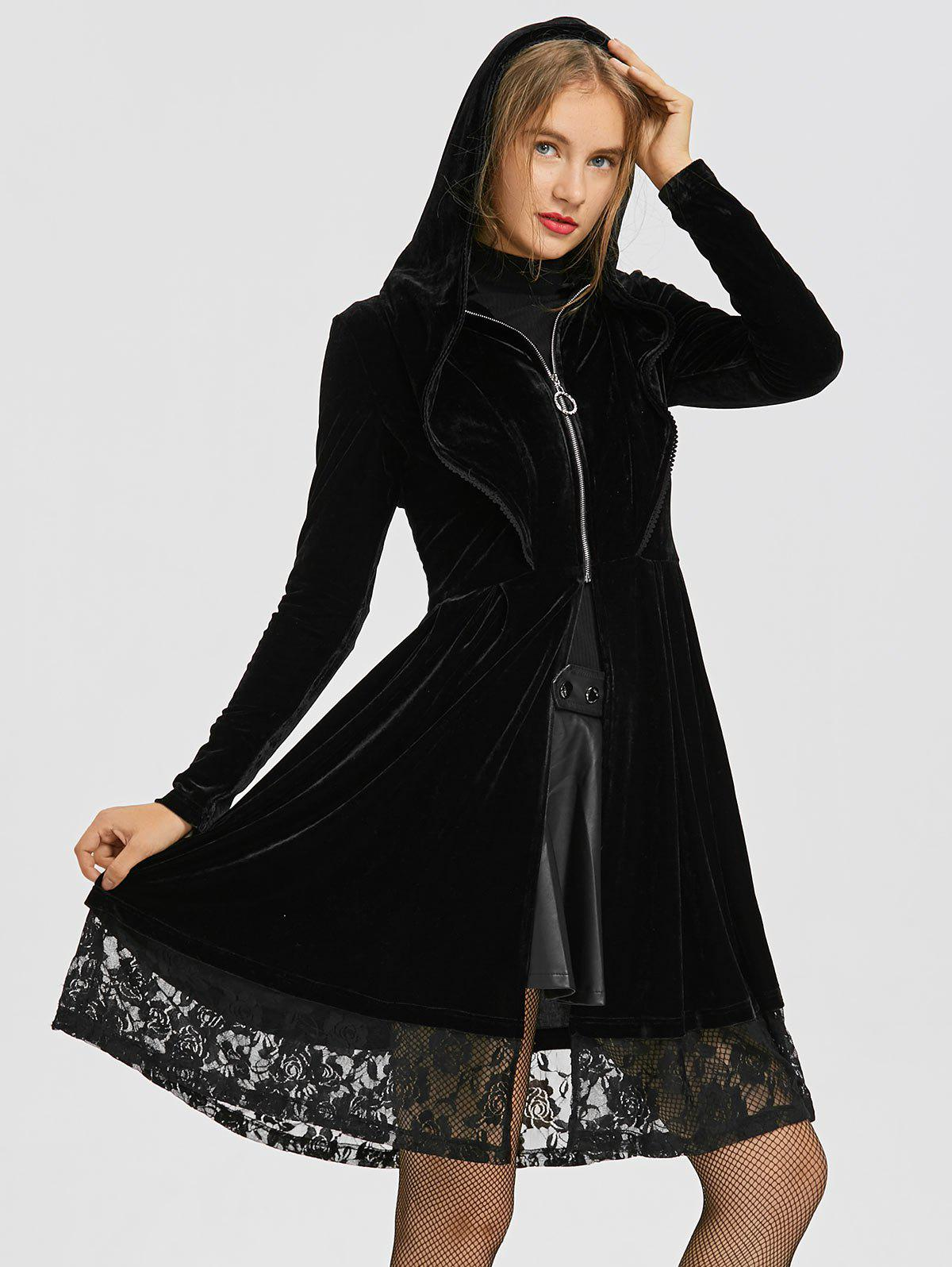 Ruffle Neck Lace Iansert Long Hooded Velvet CoatWOMEN<br><br>Size: XL; Color: BLACK; Clothes Type: Others; Material: Polyester; Type: Slim; Shirt Length: Long; Sleeve Length: Full; Collar: Stand-Up Collar; Pattern Type: Solid; Embellishment: Lace; Style: Fashion; Season: Fall,Winter; Weight: 0.7330kg; Package Contents: 1 x Coat;