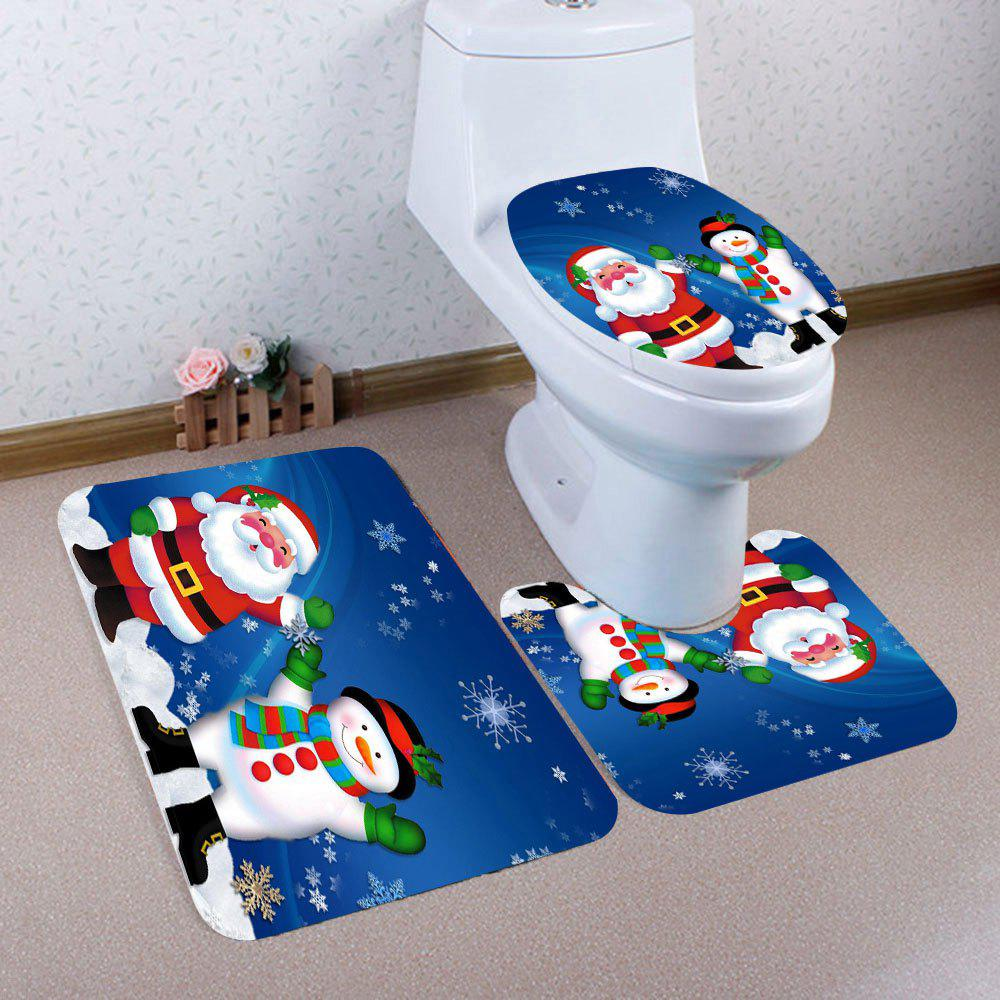 Santa Claus And Snowman Patterned 3Pcs Bath Toilet Mat SetHOME<br><br>Color: COLORFUL; Products Type: Toilet Mat Set; Materials: Coral FLeece; Pattern: Santa Claus,Snowflake,Snowman; Style: Festival; Size: Pedestal Rug: 40*40(CM), Lid Toilet Cover: 40*45(CM), Bath Mat: 40*60(CM); Package Contents: 1 x Pedestal Rug 1 x Lid Toilet Cover 1 x Bath Mat;
