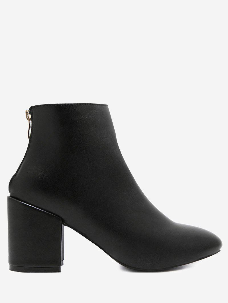 Block Heel PU Bottines en cuir