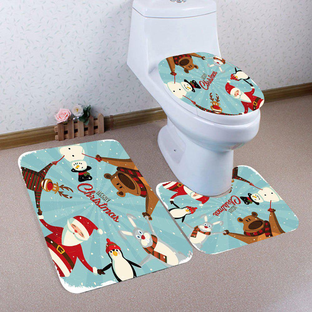 Hot Christmas Family Patterned 3Pcs Toilet Bath Mat Set
