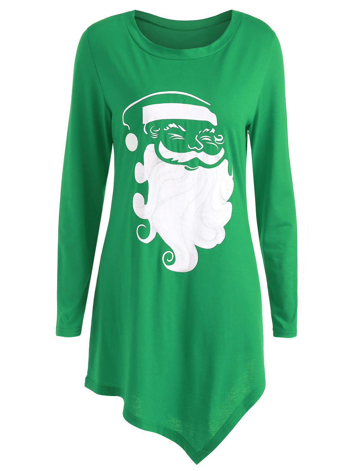 Christmas Santa Claus Asymmetrical TeeWOMEN<br><br>Size: S; Color: GREEN; Material: Cotton,Polyester; Shirt Length: Long; Sleeve Length: Full; Collar: Round Neck; Style: Casual; Pattern Type: Print; Season: Fall,Spring; Weight: 0.3500kg; Package Contents: 1 x T-shirt;