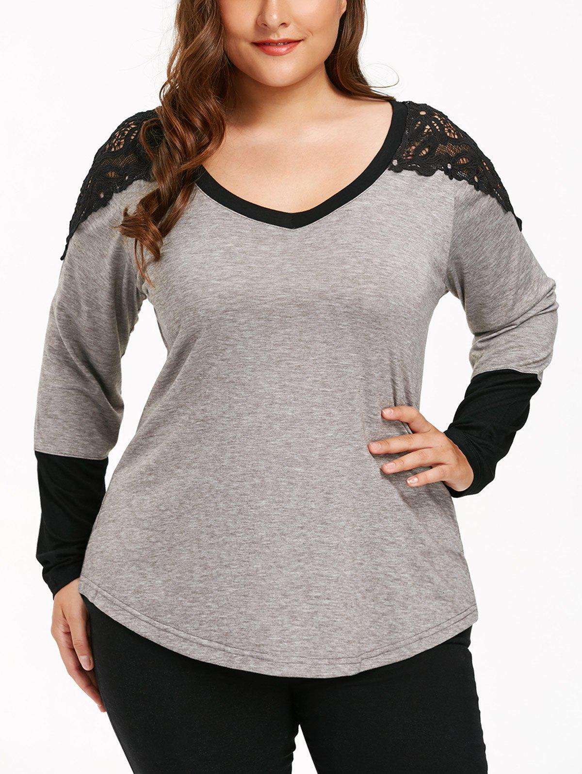 Plus Size Long Sleeve Lace Panel T-shirtWOMEN<br><br>Size: 2XL; Color: GRAY; Material: Polyester,Spandex; Shirt Length: Regular; Sleeve Length: Full; Collar: V-Neck; Style: Casual; Season: Fall,Spring,Winter; Embellishment: Lace,Panel; Pattern Type: Solid; Elasticity: Elastic; Weight: 0.2900kg; Package Contents: 1 x T-shirt;
