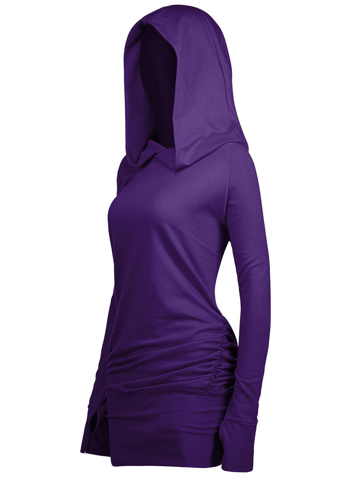 Long Plus Size Sides Ruched HoodieWOMEN<br><br>Size: XL; Color: PURPLE; Material: Polyester,Spandex; Shirt Length: Long; Sleeve Length: Full; Style: Fashion; Pattern Style: Solid; Season: Fall,Spring; Weight: 0.4200kg; Package Contents: 1 x Hoodie;