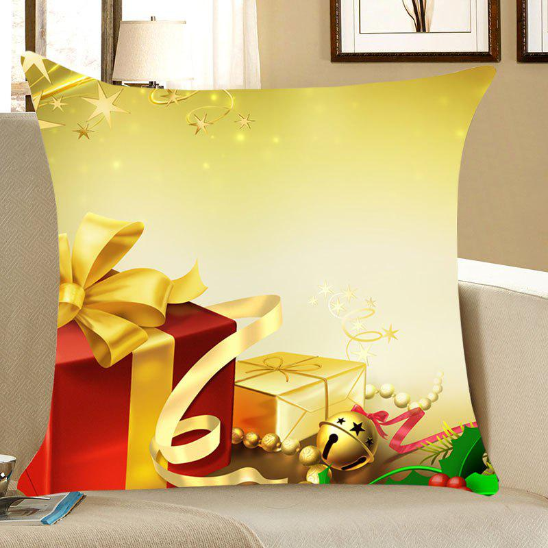 Christmas Gifts Patterned Linen Throw Pillow CaseHOME<br><br>Size: W18 INCH * L18 INCH; Color: YELLOW; Material: Linen; Fabric Type: Linen; Pattern: Gift; Style: Festival; Shape: Square; Weight: 0.0700kg; Package Contents: 1 x Pillow Case;