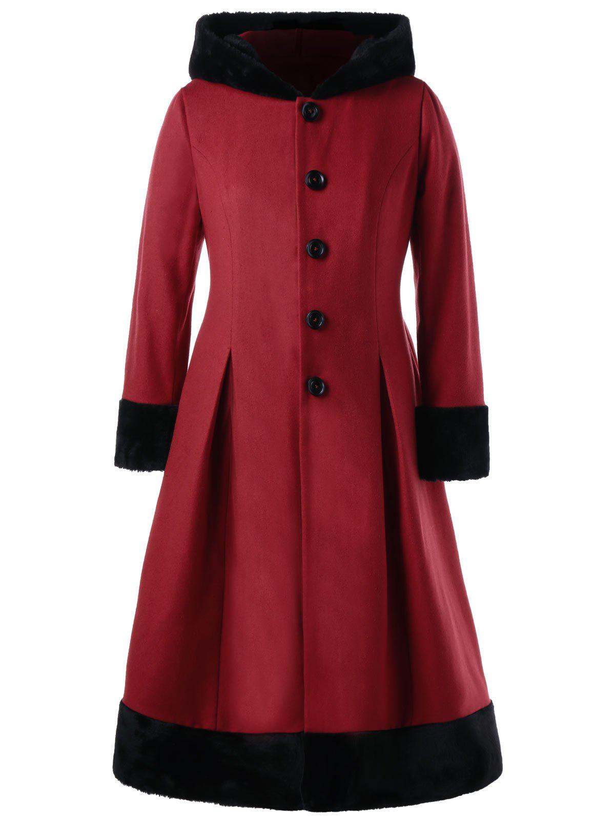 Plus Size Faux Fur Hooded Button Up Dress CoatWOMEN<br><br>Size: 2XL; Color: RED; Clothes Type: Wool &amp; Blends; Material: Polyester,Wool; Type: Slim; Shirt Length: Long; Sleeve Length: Full; Collar: Hooded; Pattern Type: Solid; Style: Vintage; Season: Fall,Spring; Weight: 1.2000kg; Package Contents: 1 x Coat;