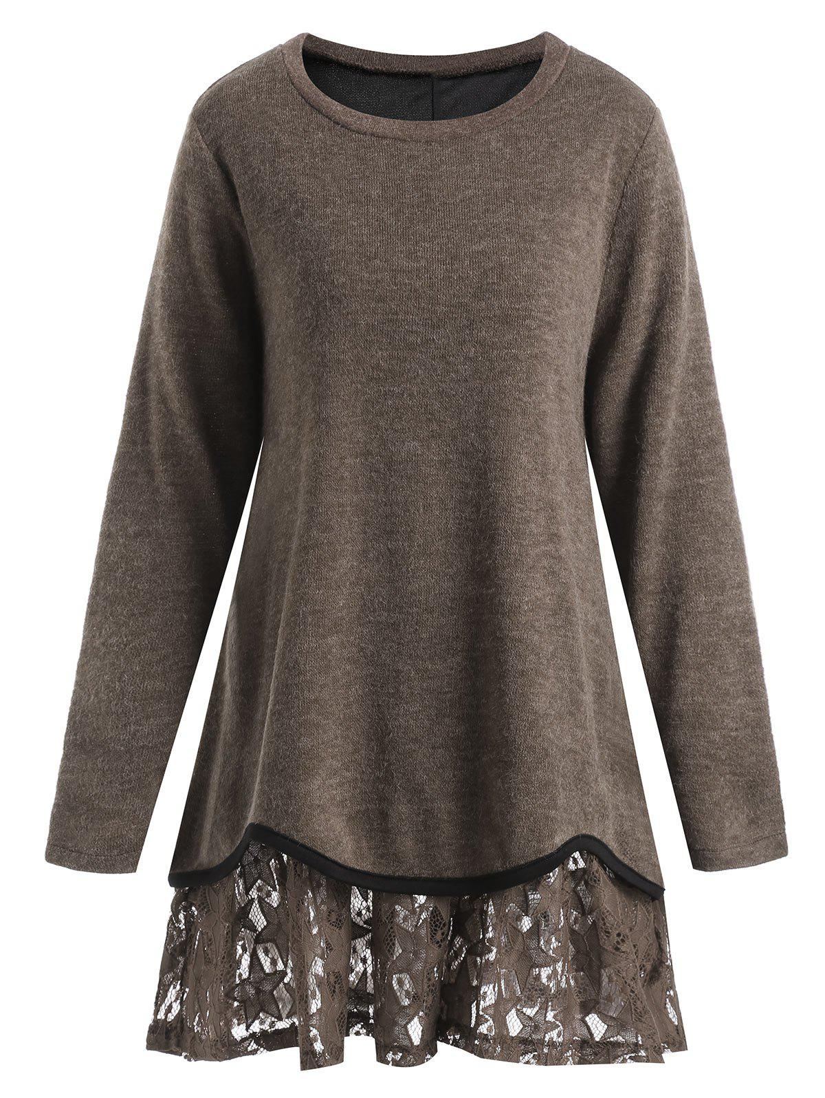 Plus Size Overlay Star Lace KnitwearWOMEN<br><br>Size: 4XL; Color: DARK CAMEL; Type: Pullovers; Material: Acrylic,Polyester; Sleeve Length: Full; Collar: Round Neck; Style: Fashion; Season: Fall,Spring; Pattern Type: Solid; Weight: 0.4350kg; Package Contents: 1 x Knitwear;