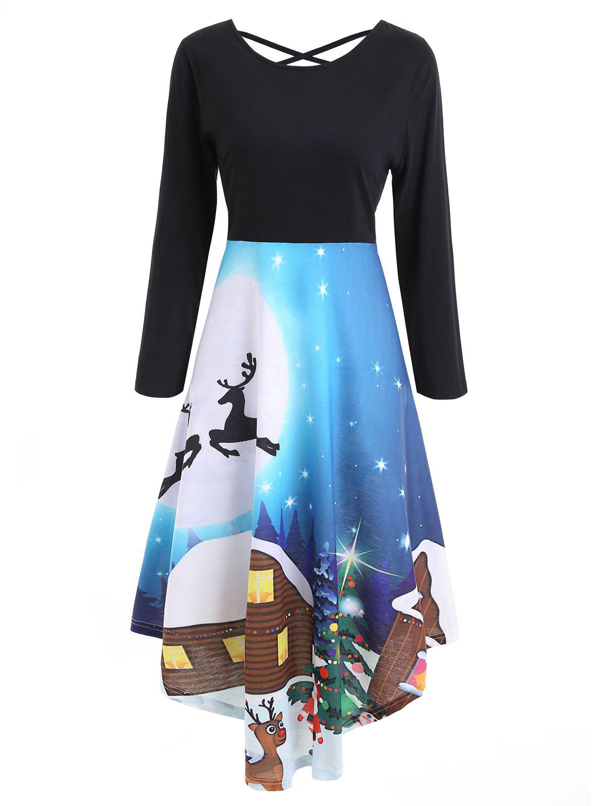 Christmas Print Long Sleeve Flare DressWOMEN<br><br>Size: L; Color: BLACK; Style: Casual; Material: Polyester; Silhouette: Fit and Flare; Dresses Length: Mid-Calf; Neckline: Scoop Neck; Sleeve Length: Long Sleeves; Embellishment: Criss-Cross; Pattern Type: Print; With Belt: No; Season: Fall,Spring,Winter; Weight: 0.3600kg; Package Contents: 1 x Dress;