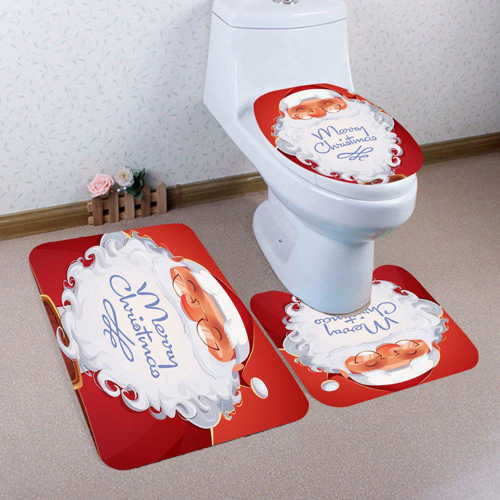 Smiling Santa Claus Pattern 3Pcs Bath Toilet Rug SetHOME<br><br>Color: RED AND WHITE; Products Type: Toilet Mat Set; Materials: Coral FLeece; Pattern: Santa Claus; Style: Festival; Size: Pedestal Rug: 40*40(CM), Lid Toilet Cover: 40*45(CM), Bath Mat: 40*60(CM); Package Contents: 1 x Pedestal Rug 1 x Lid Toilet Cover 1 x Bath Mat;