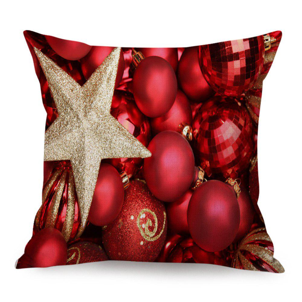 Christmas Balls Star Print Linen Decorative Throw Pillow CaseHOME<br><br>Size: 45*45CM; Color: RED; Material: Linen; Pattern: Printed,Star; Style: Festival; Shape: Square; Weight: 0.1300kg; Package Contents: 1 x Pillowcase;