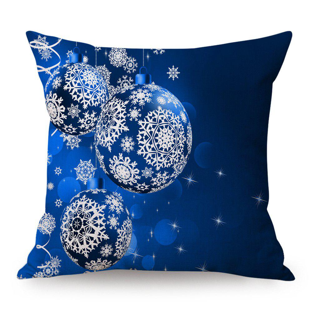 Christmas Balls Print Linen Decorative PillowcaseHOME<br><br>Size: 45*45CM; Color: BLUE; Material: Linen; Pattern: Printed,Snowflake; Style: Festival; Shape: Square; Weight: 0.1300kg; Package Contents: 1 x Pillow Case;