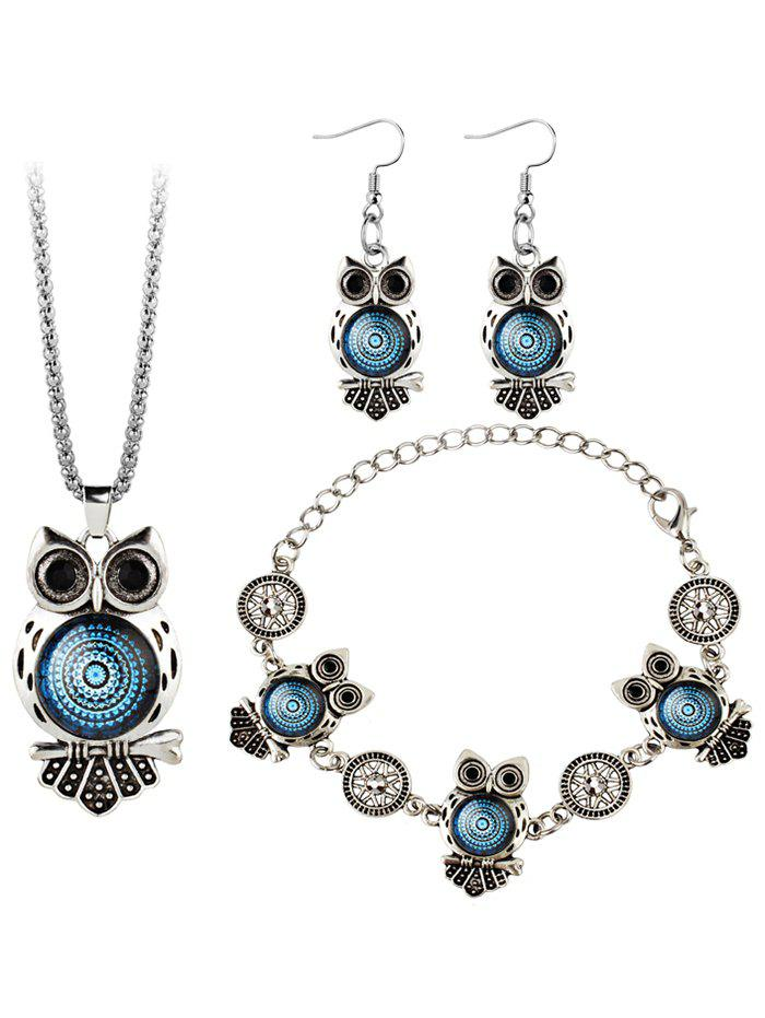 Vintage Owl Gem Embellished Necklace Earring Bracelet SetJEWELRY<br><br>Color: BLUE; Item Type: Pendant Necklace; Gender: For Women; Necklace Type: Link Chain; Style: Trendy; Shape/Pattern: Animal; Weight: 0.0450kg; Package Contents: 1 x Necklace 1 x Bracelet 1 x Earring (Pair);