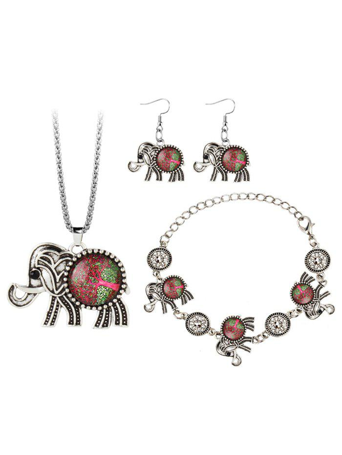 Vintage Elephant Gem Embellished Necklace Earring Bracelet SetJEWELRY<br><br>Color: RED; Item Type: Pendant Necklace; Gender: For Women; Style: Trendy; Shape/Pattern: Animal; Weight: 0.0450kg; Package Contents: 1 x Necklace 1 x Bracelet 1 x Earring (Pair);