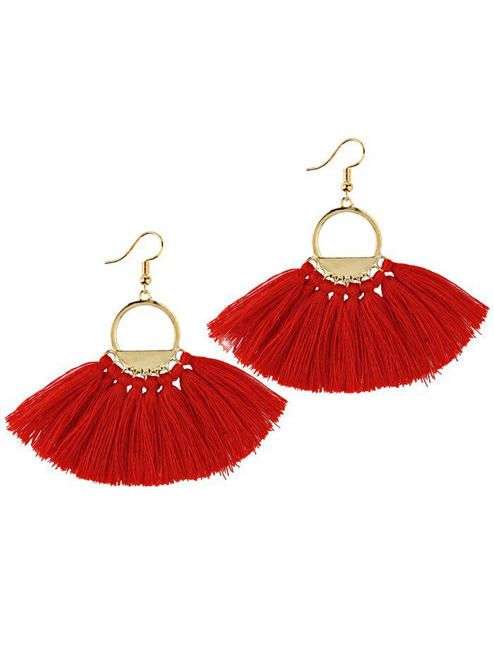 Vintage Fan Tassel Embellished Hollow Out Tassel Drop EarringsJEWELRY<br><br>Color: RED; Earring Type: Drop Earrings; Gender: For Girls,For Women; Style: Trendy; Shape/Pattern: Tassel; Weight: 0.0170kg; Package Contents: 1 x Earring (Pair);