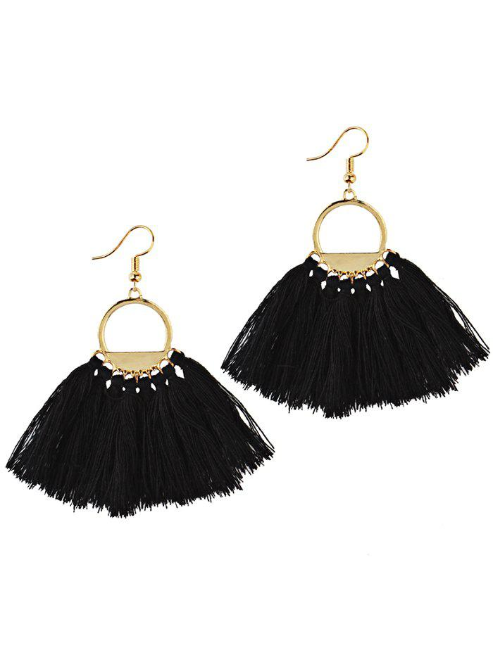 Fancy Vintage Fan Tassel Embellished Hollow Out Tassel Drop Earrings