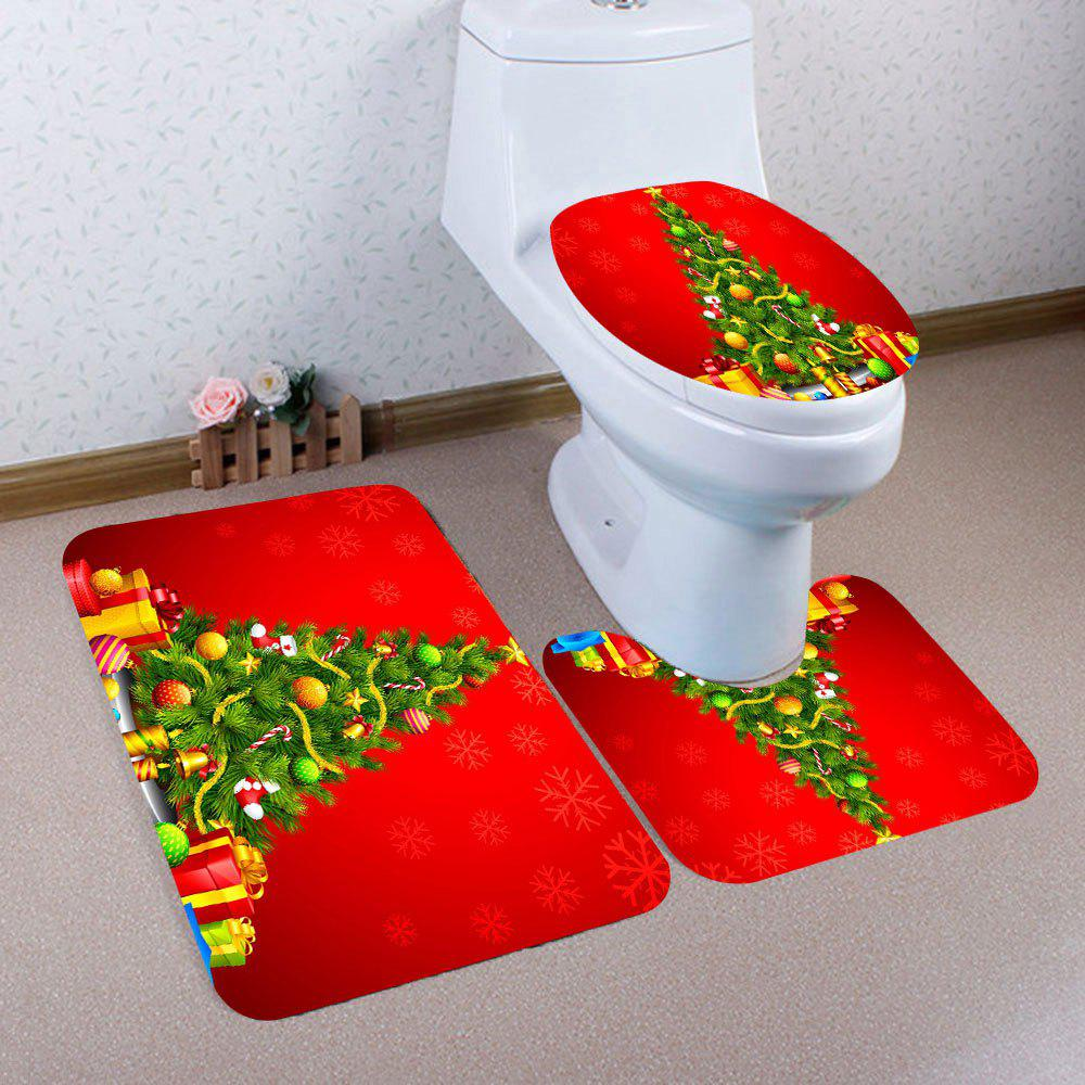Christmas Tree And Gifts Print 3Pcs Bath Toilet SetHOME<br><br>Color: RED; Products Type: Toilet Mat Set; Materials: Coral FLeece; Pattern: Christmas Tree,Gift; Style: Festival; Size: Pedestal Rug: 40*40(CM), Lid Toilet Cover: 40*45(CM), Bath Mat: 40*60(CM); Package Contents: 1 x Pedestal Rug 1 x Lid Toilet Cover 1 x Bath Mat;