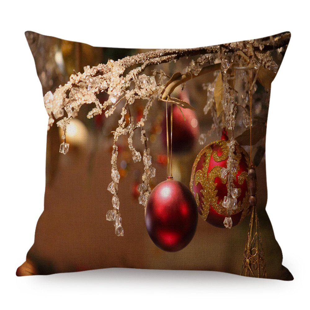 Christmas Decoration Ball Print Linen Throw Pillow CaseHOME<br><br>Size: 45*45CM; Color: BROWN; Material: Linen; Pattern: Printed; Style: Festival; Shape: Square; Weight: 0.1300kg; Package Contents: 1 x Pillowcase;