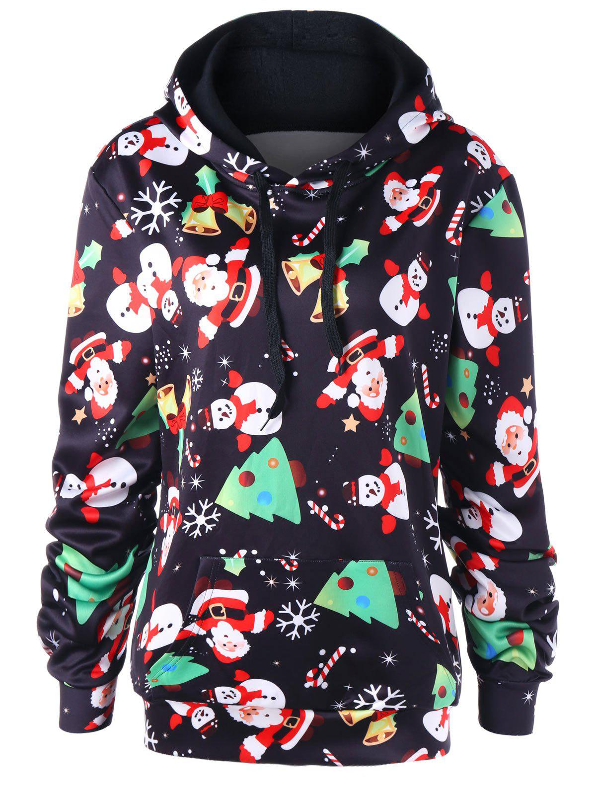 Cheap Christmas Plus Size Snowman Kangaroo Pocket Hoodie