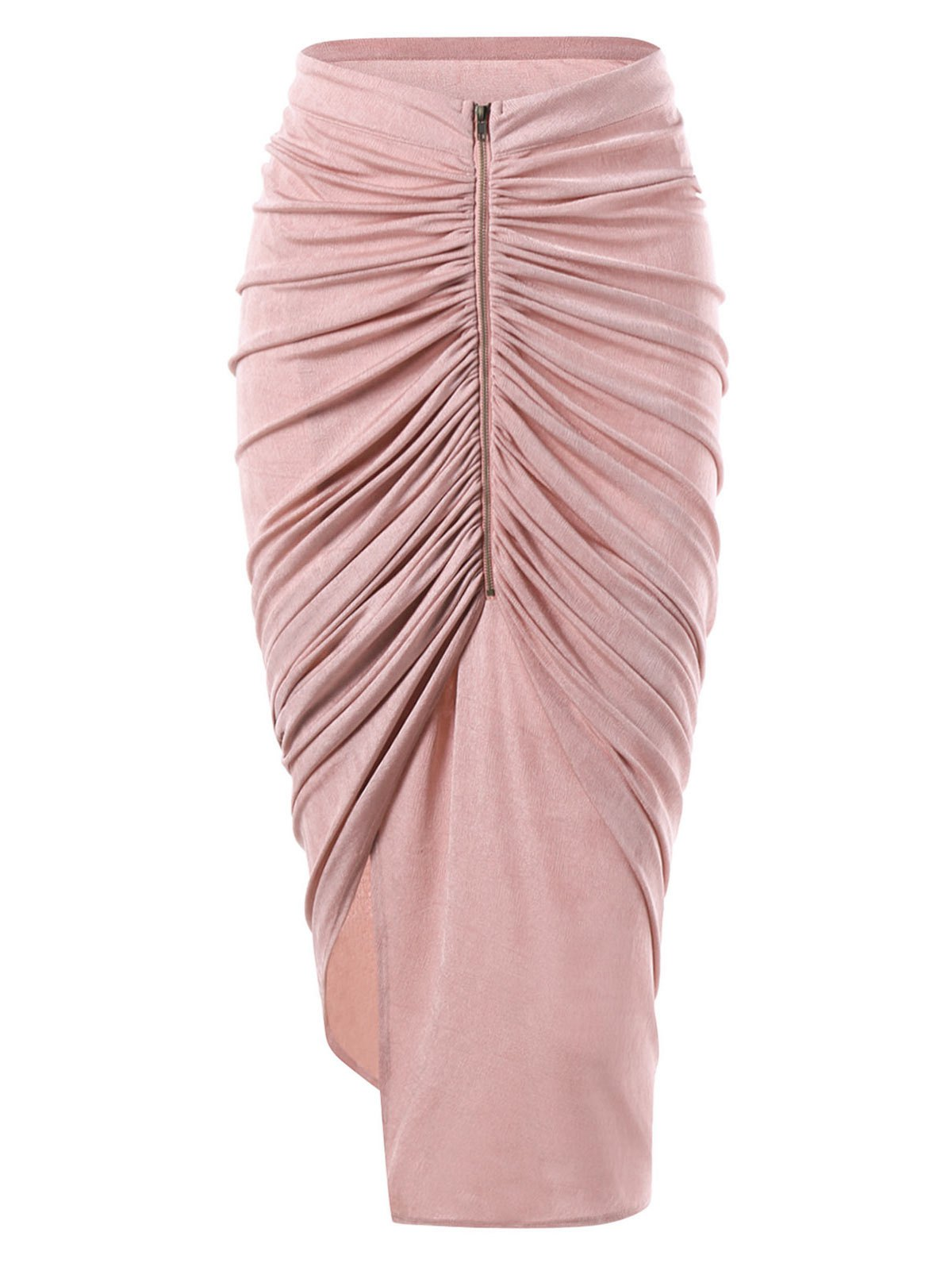 Zipper Asymmetrical Ruched Midi SkirtWOMEN<br><br>Size: L; Color: PINK; Material: Polyester; Length: Mid-Calf; Silhouette: Asymmetrical; Pattern Type: Solid; Embellishment: Ruched; Season: Fall,Spring,Winter; Weight: 0.2600kg; Package Contents: 1 x Skirt;