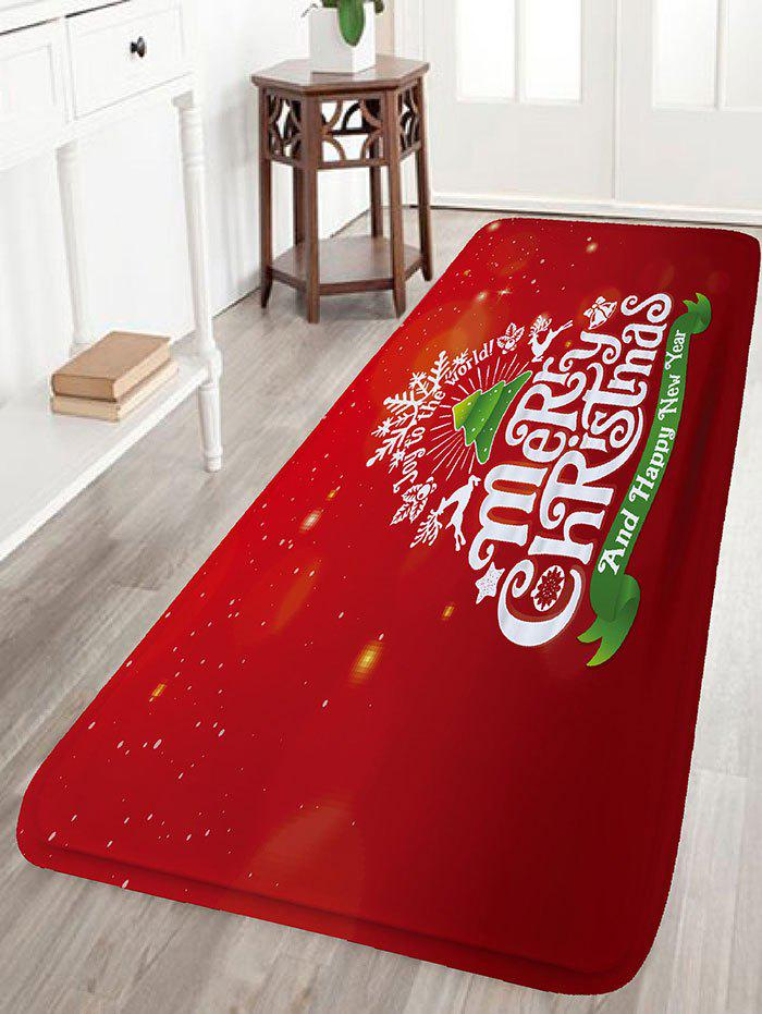 Letter Print Flannel Nonslip Christmas Bath MatHOME<br><br>Size: W16 INCH * L47 INCH; Color: RED; Products Type: Bath rugs; Materials: Flannel; Pattern: Letter; Style: Festival; Shape: Rectangular; Package Contents: 1 x Rug;