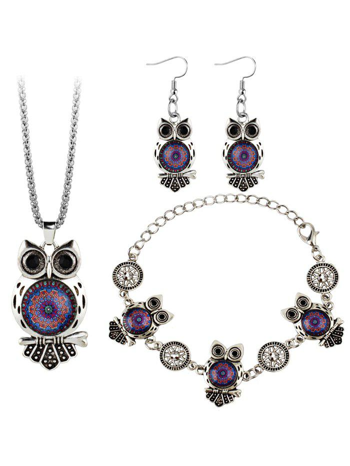 Vintage Owl Gem Embellished Necklace Earring Bracelet SetJEWELRY<br><br>Color: PURPLE; Item Type: Pendant Necklace; Gender: For Women; Necklace Type: Link Chain; Style: Trendy; Shape/Pattern: Animal; Weight: 0.0450kg; Package Contents: 1 x Necklace 1 x Bracelet 1 x Earring (Pair);