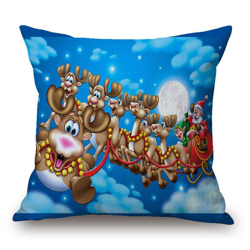 Christmas Deer Sleigh Print Decorative Linen PillowcaseHOME<br><br>Size: 45*45CM; Color: COLORMIX; Material: Linen; Pattern: Animal,Moon,Santa Claus; Style: Festival; Shape: Square; Weight: 0.1300kg; Package Contents: 1 x Pillowcase;