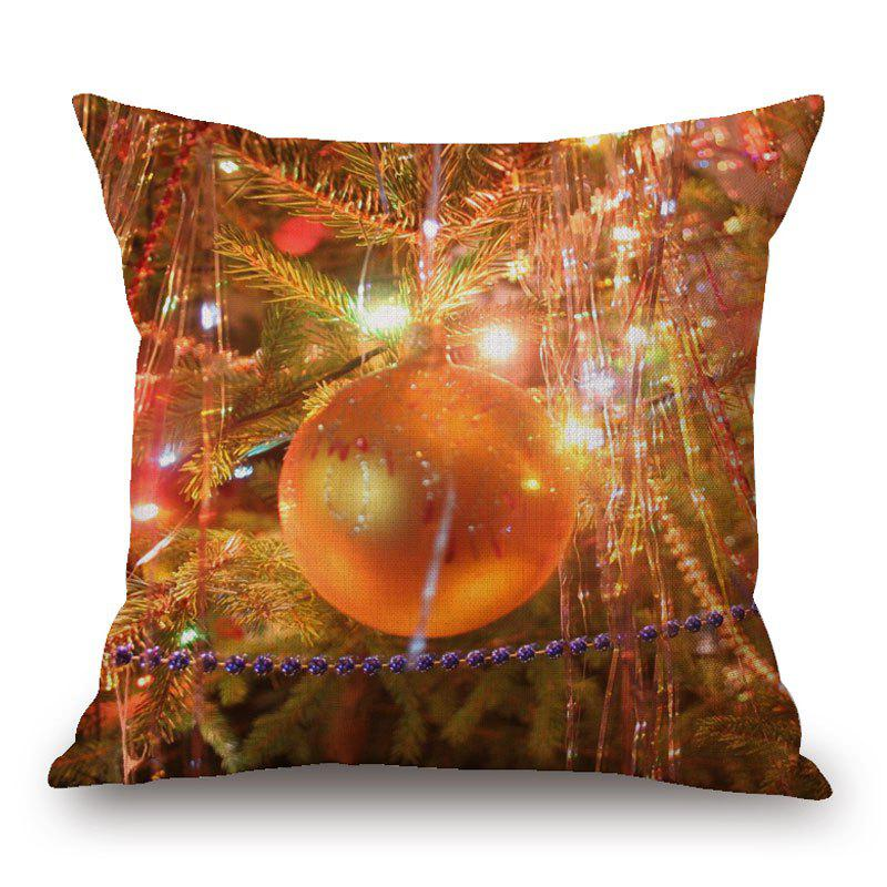 Christmas Bauble Light Print Decorative Linen PillowcaseHOME<br><br>Size: 45*45CM; Color: ORANGE; Material: Linen; Pattern: Baubles; Style: Festival; Shape: Square; Weight: 0.1300kg; Package Contents: 1 x Pillowcase;