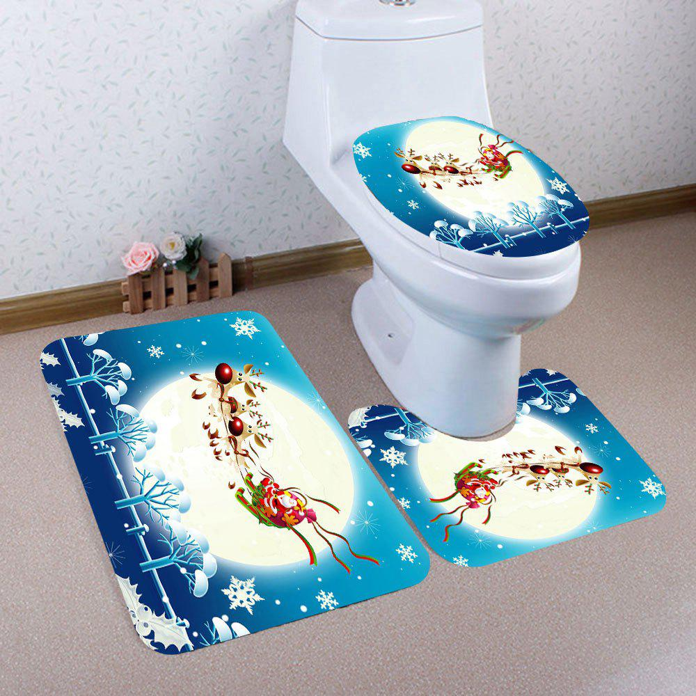 Online Moon Santa Elk Sled Patterned 3Pcs Toilet Mat Set
