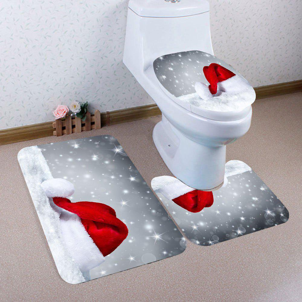 Snow Christmas Hat Patterned 3Pcs Bath Toilet Mat SetHOME<br><br>Color: COLORFUL; Products Type: Toilet Mat Set; Materials: Coral FLeece; Pattern: Print; Style: Festival; Size: Pedestal Rug: 40*40(CM), Lid Toilet Cover: 40*45(CM), Bath Mat: 40*60(CM); Package Contents: 1 x Pedestal Rug 1 x Lid Toilet Cover 1 x Bath Mat;