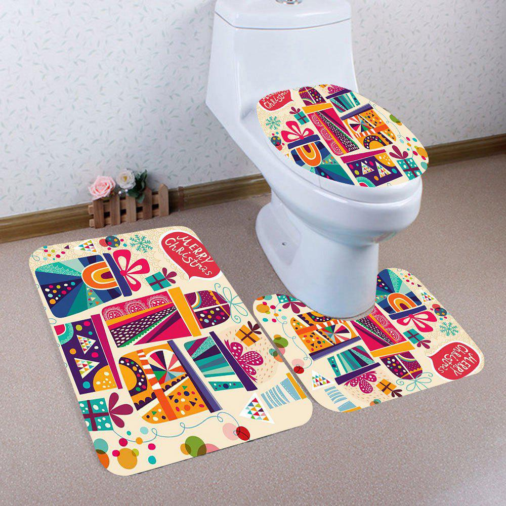 Christmas Gifts Printed 3Pcs Bathroom Toilet Mat SetHOME<br><br>Color: COLORFUL; Products Type: Toilet Mat Set; Materials: Coral FLeece; Pattern: Gift; Style: Festival; Size: Pedestal Rug: 40*40(CM), Lid Toilet Cover: 40*45(CM), Bath Mat: 40*60(CM); Package Contents: 1 x Pedestal Rug 1 x Lid Toilet Cover 1 x Bath Mat;