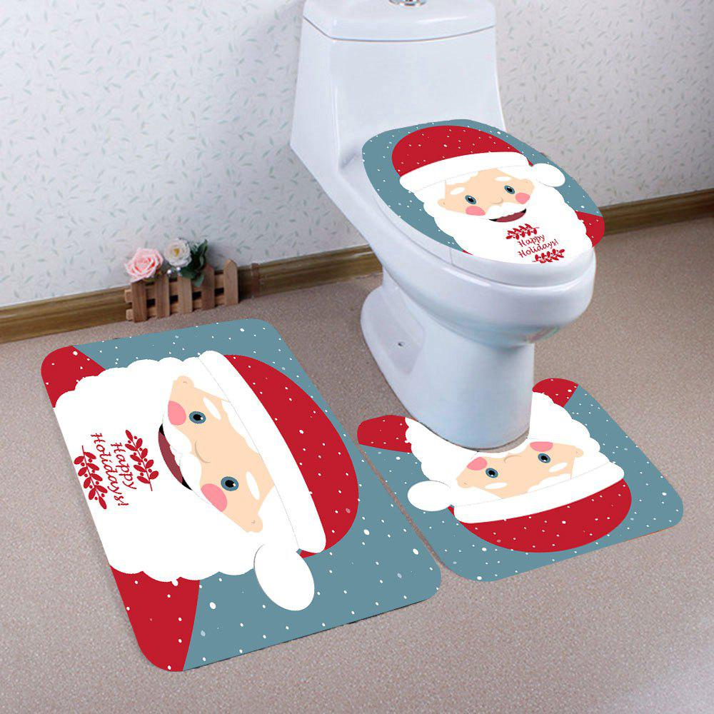 Latest 3Pcs Santa Claus Polka Dot Printed Toilet Mat Set